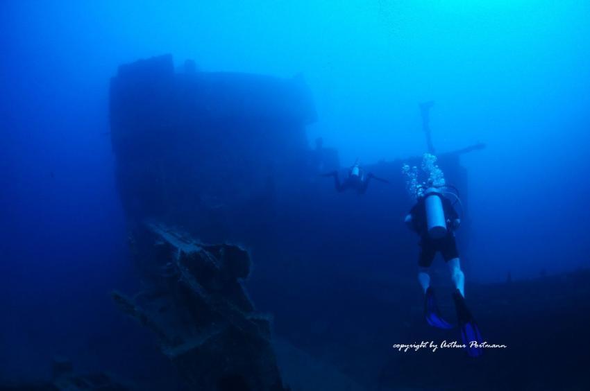 Am abgebrochenen Schiffsrumpf St.George Wrack Bayahibe Dominikanische Republik