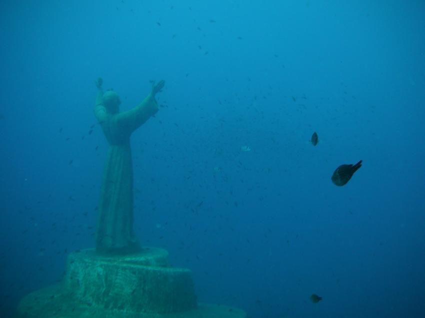 Cristo degli abissi, Recco - Portofino,Italien,Der Cristo degli abissi (deutsch: Christus der Abgründe)