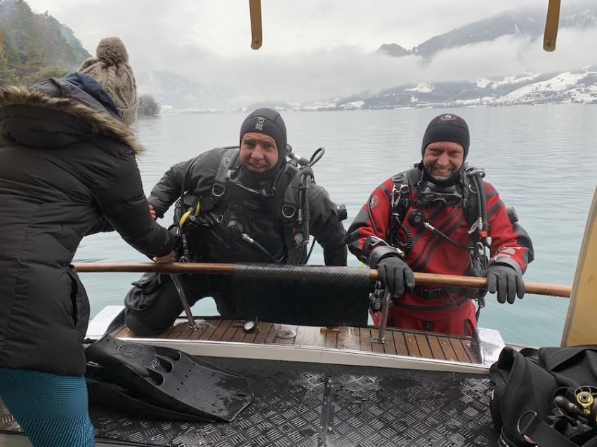 tauchen auch bei kalten winterzeiten :-) - kein problem: heizung vorhanden !, tauchen im Walensee ohne auto, Sirius, Walensee, Schweiz