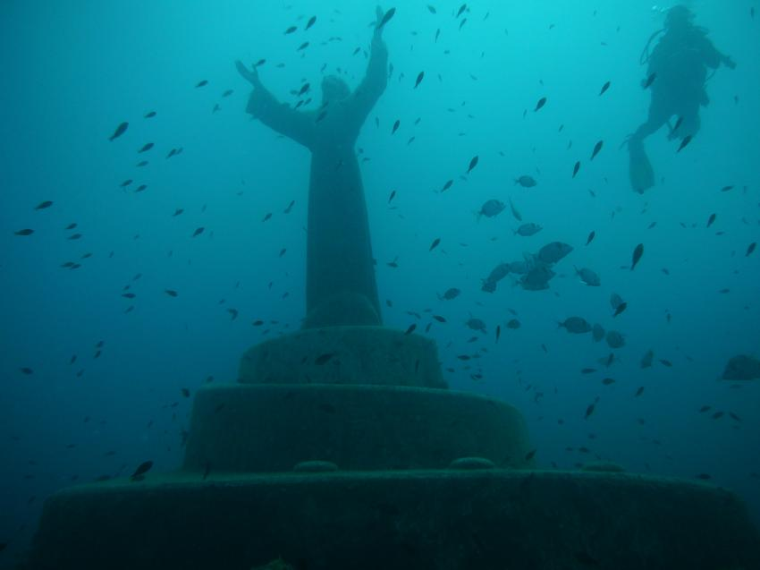 Cristo degli abissi, Recco - Portofino,Italien,Der Cristo degli abissi (deutsch: Christus der Abgründe),Statue