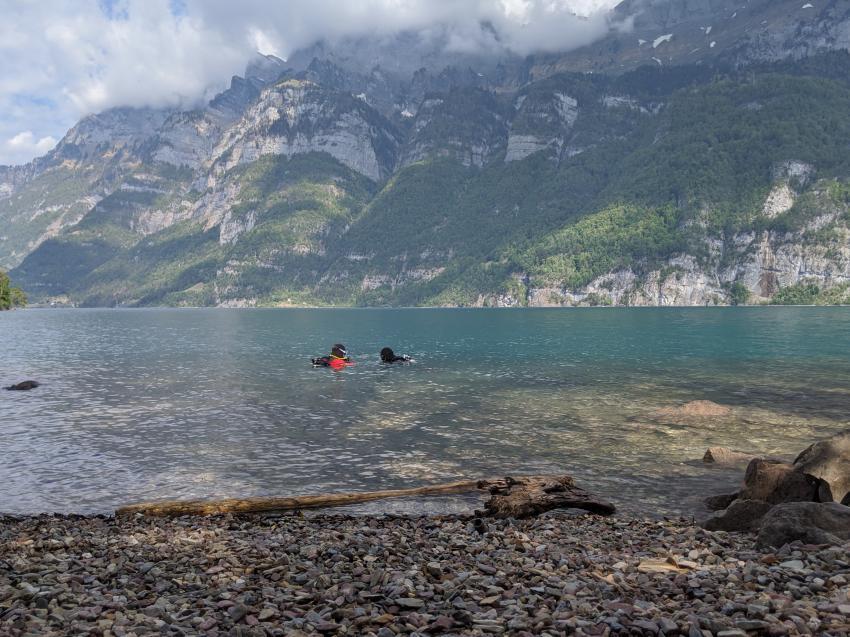 Panorama über Wasser, Broder, Mols, Schweiz