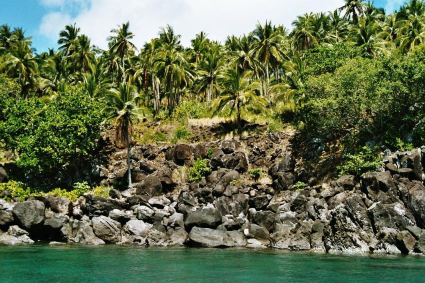 Malapascua nördl. von Bohol, Malapascua,Philippinen,Ufer,felsen,palmen,dschungel