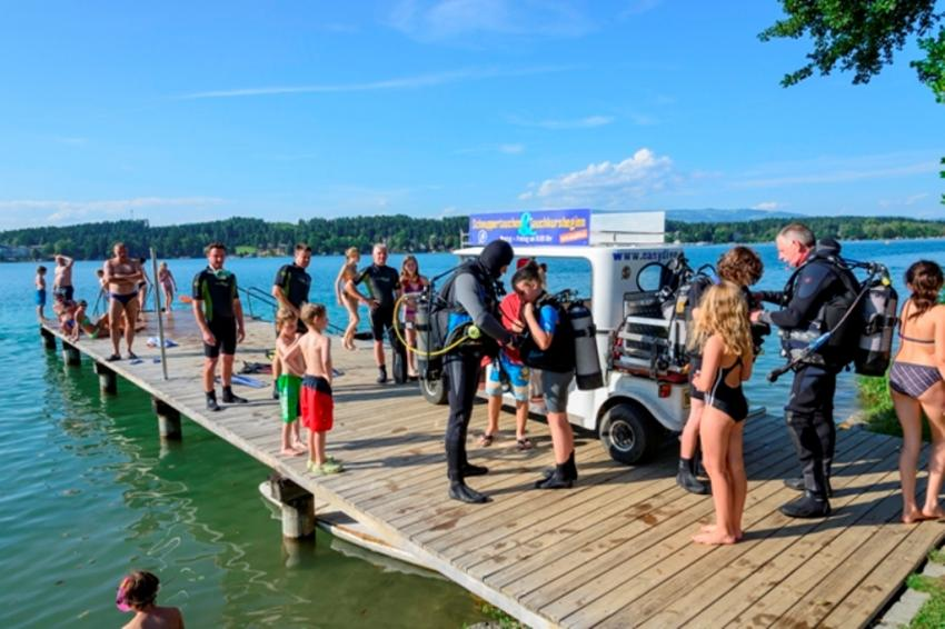 Strand, Tauchschule, Easydive, Klopeinersee, tauchkurs.at, Easy Dive, Unterburg/Klopeiner See, Österreich