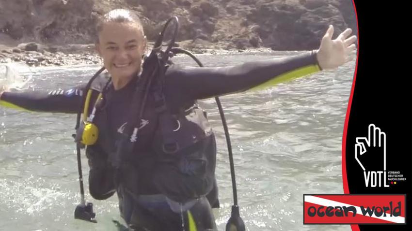 OWID mit Ilenia, OWID, Ocean World Dive Center, Tarajalejo, Fuerteventura, Spanien, Kanaren (Kanarische Inseln)