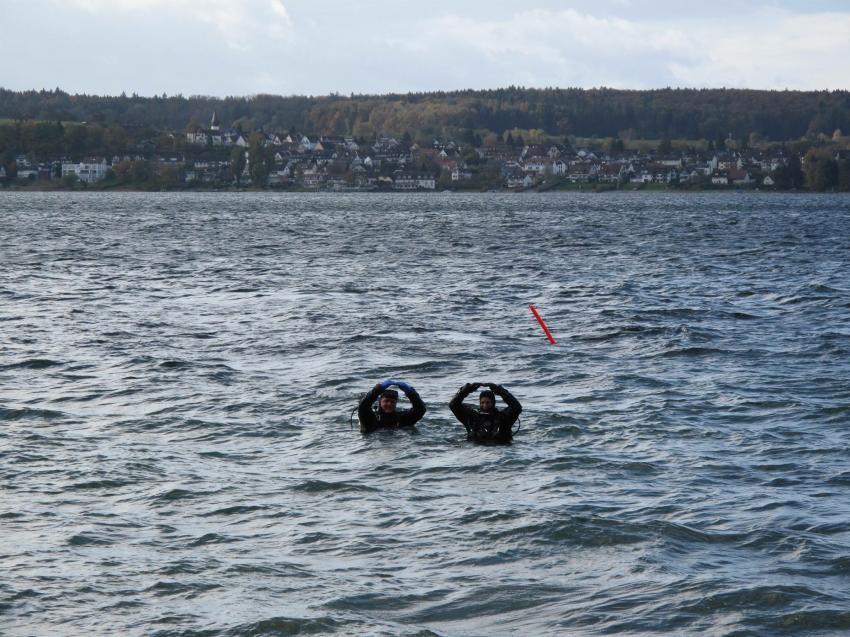 Wetter schlecht, Laune gut, Tauchteam Bodensee, Bodensee, Deutschland, Baden Württemberg