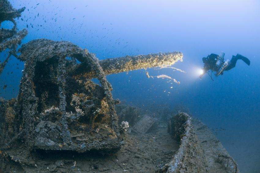 Bordkanone der HMS Southwold, Wrack, HMS Southwold, Bordkanone, Wrack HMS Southwold, Malta, Malta - Hauptinsel