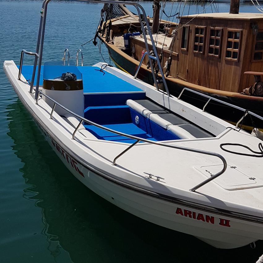 Eines der zwei schnellen Tauchbooten., Arian Diving Center, Kos, Kardamena, Griechenland