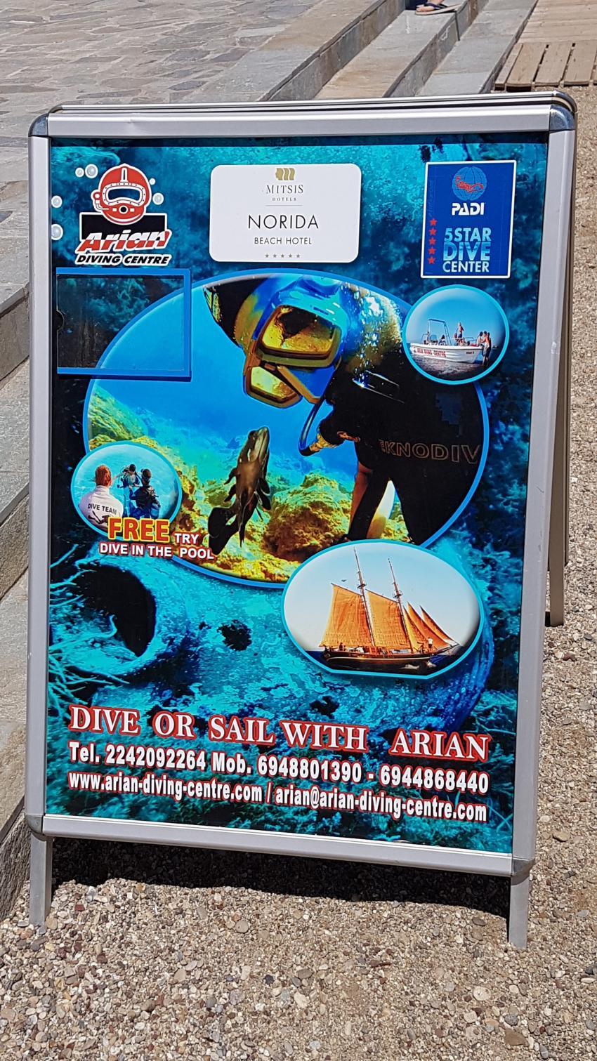 Norida Beach Aufsteller, Arian Diving Center, Kos, Kardamena, Griechenland