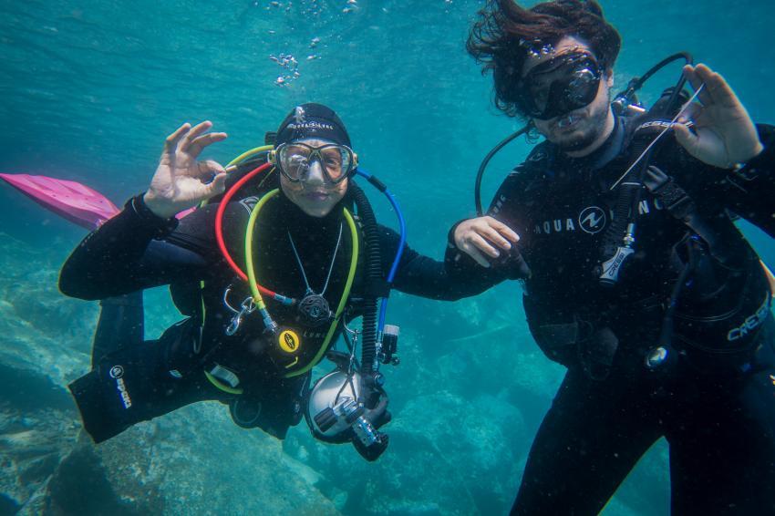 Spaß beim Safetystop , Radazul, Teneriffa, Kanarische Insels, Scubanana Dive Center, Teneriffa, Spanien, Kanaren (Kanarische Inseln)