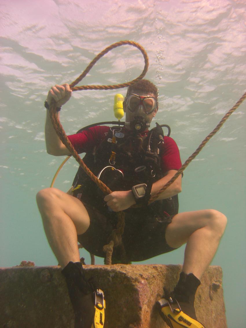 Ich beim Unterwasserlassozielwerfen