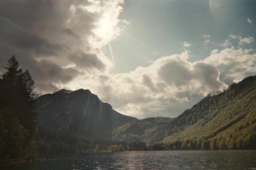 Langbathsee, vorderer, Langbathsee,Ebensee,Österreich,Panorama,Alpen,Wolken,Bergsee,Gebirge