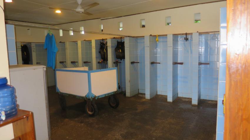 Trockenraum für die Ausrüstung, Lumbalumba Diving Resort, Manado, Sulawesi, Indonesien, Sulawesi