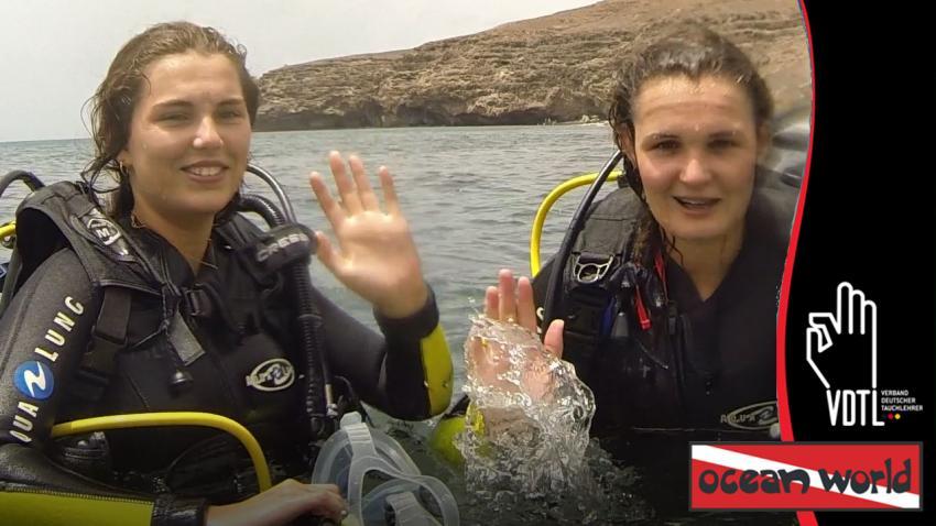 OWID mit Daniela und Andrea, OWID, Ocean World Dive Center, Tarajalejo, Fuerteventura, Spanien, Kanaren (Kanarische Inseln)