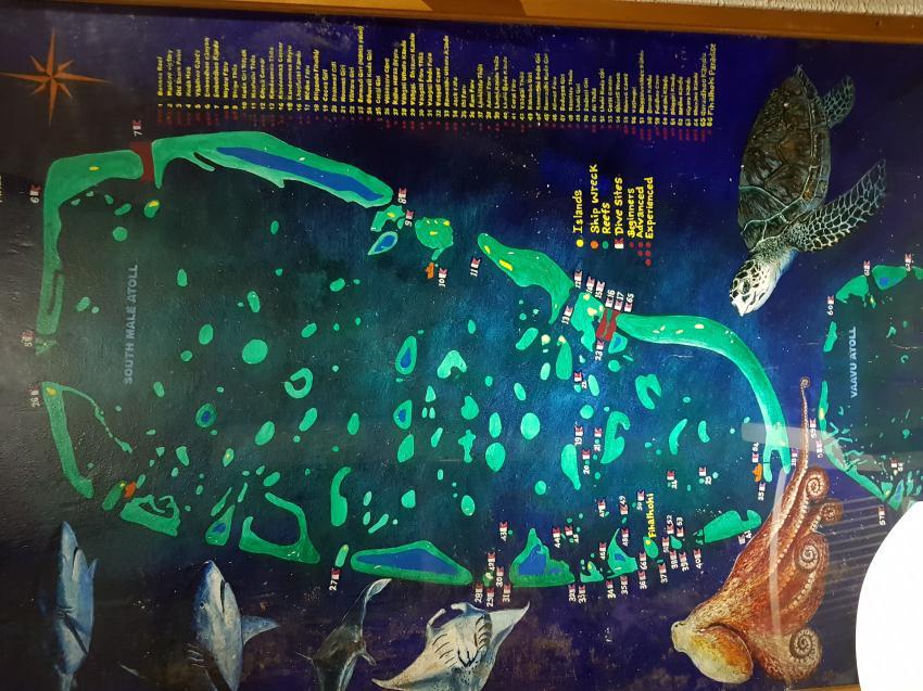 Tauchplatz-Karte, Aeolus Diving, Fihalhohi, Malediven