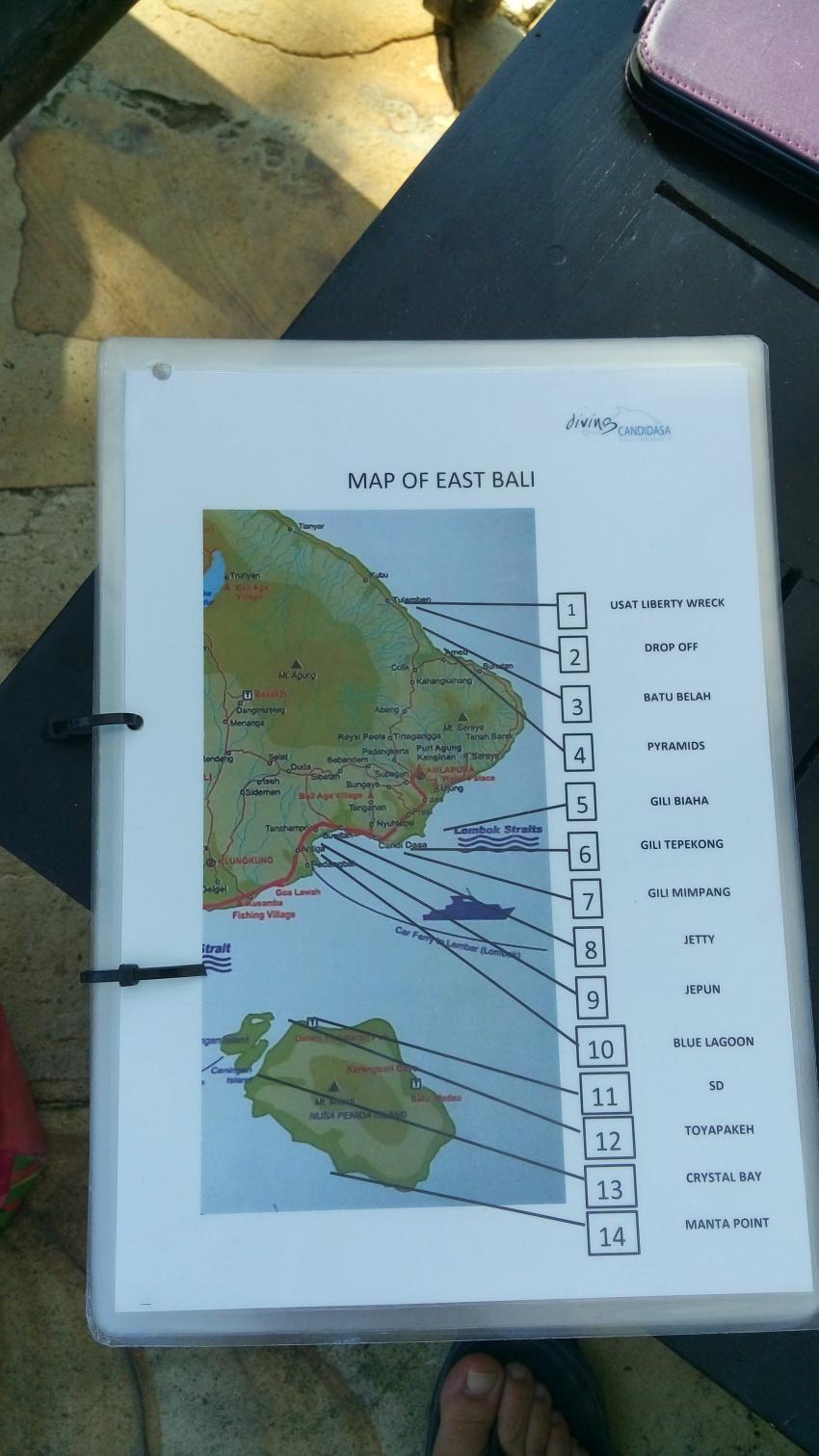 Übersicht einiger Tauchplätze, diving.DE Candidasa, Candi Beach, Bali, Indonesien, Bali
