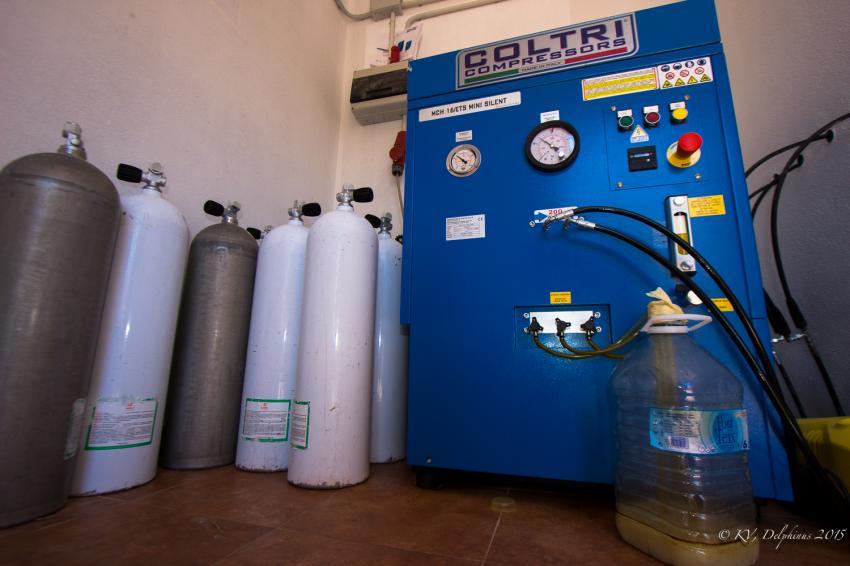 Kompressoren, Delphinus Diving School Mallorca, Spanien, Balearen