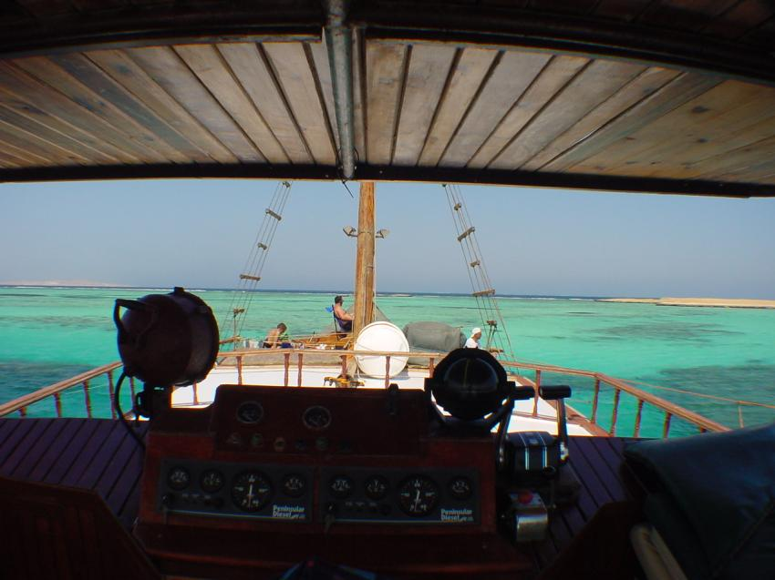 Marsa Alam - Dolphin House, Shaab Samadai (Dolphin House),Ägypten,Entspannen,Tauchboot,Mittag,Pause,Sonnensegel,Deck,Schatten