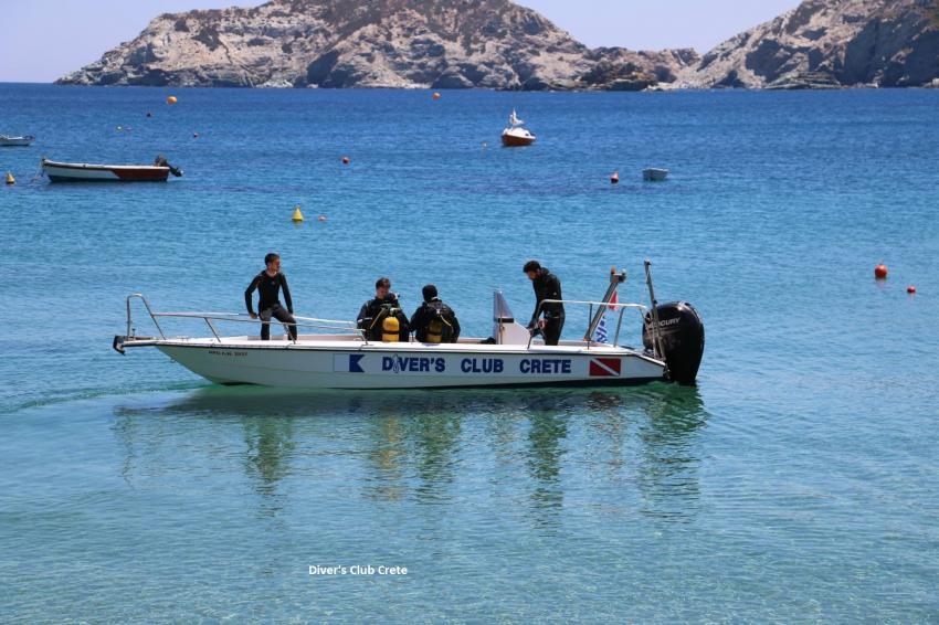 Iro 7.5m Long, Dive Boat 2, Divers Club Crete, Agia Pelagia, Kreta, Griechenland